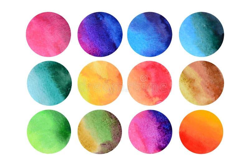 12 färgrika aquarellerundor royaltyfri illustrationer