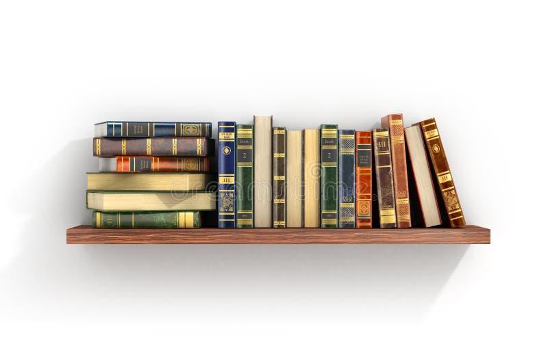 Färgrika böcker på den wood hyllan stock illustrationer