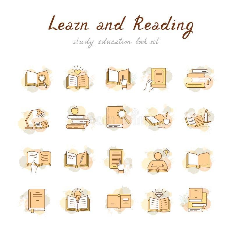Färgrika böcker ställde in i plan designstil isolerat på vit bakgrund, vektorillustration royaltyfri illustrationer
