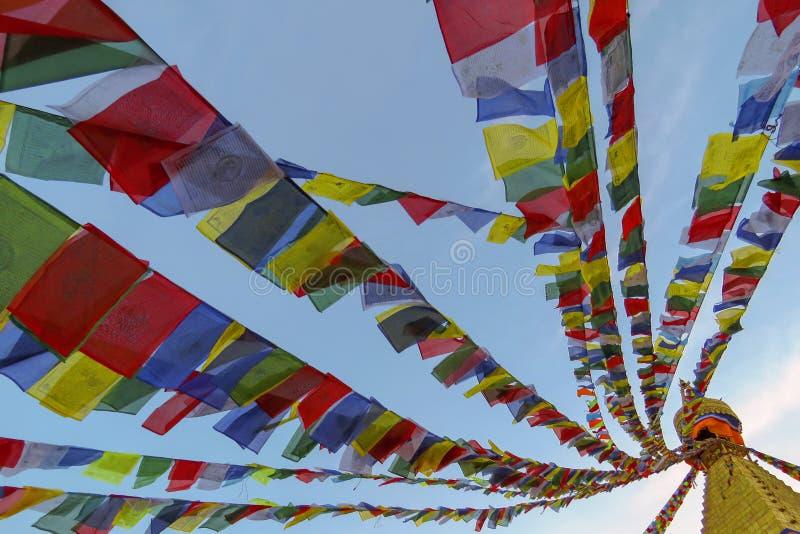 Färgrika bönflaggor på den Boudhanath stupaen, Katmandu, Nepal royaltyfri foto