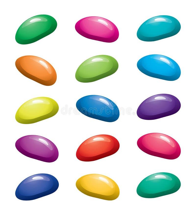 färgrika bönor för fruktgelatingelé stock illustrationer