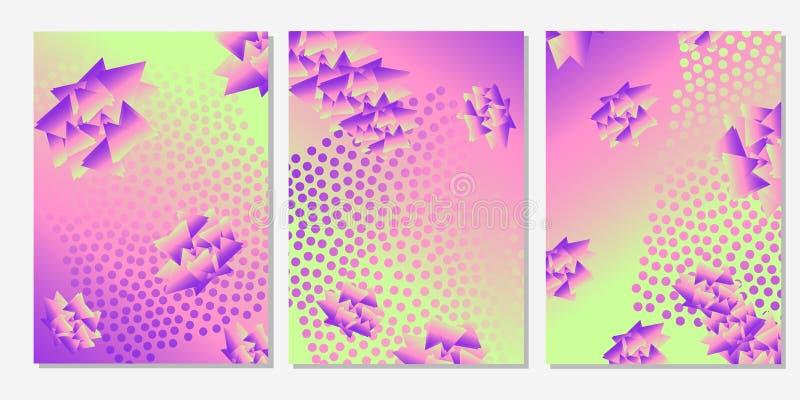 Färgrika bakgrunder med trianglar och cirklar geometriskt Mallar för kortet, baner, affisch, reklamblad, räkning vektor illustrationer