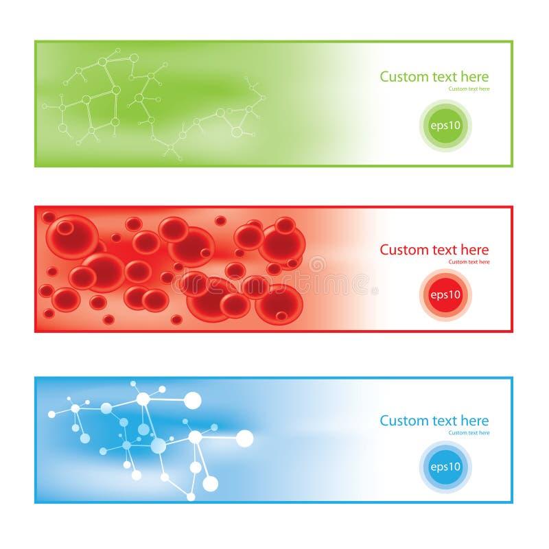 Färgrika bakgrundsbaner för molekyl stock illustrationer