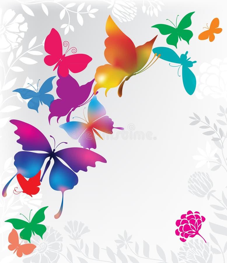 färgrika bakgrundsfjärilar stock illustrationer