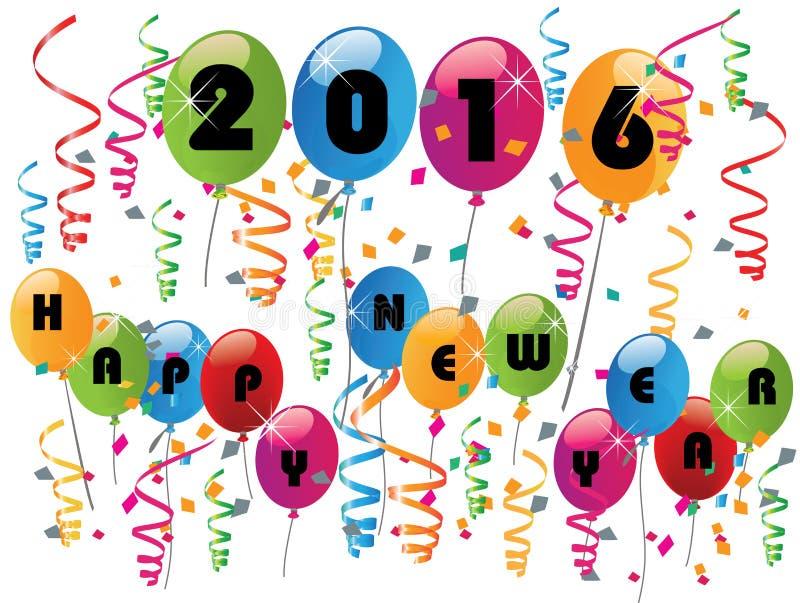2016 färgrika ballonger för lyckligt nytt år royaltyfri illustrationer