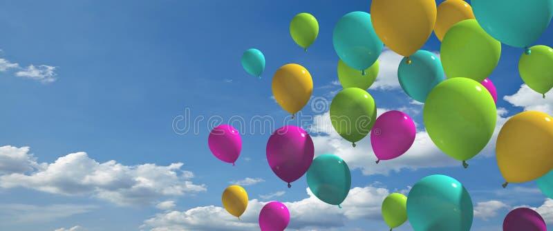 Färgrika ballonger med blå himmel royaltyfri illustrationer