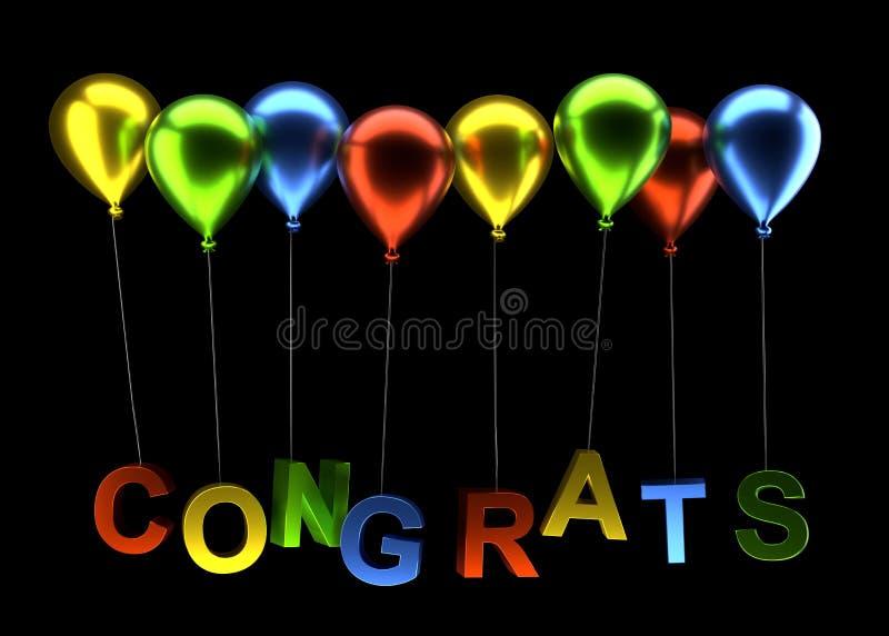 Färgrika ballonger med congrats på svart vektor illustrationer