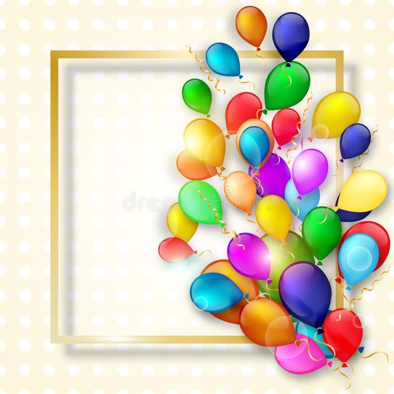 Färgrika ballonger med den guld- ramen royaltyfri illustrationer