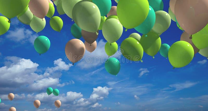 Färgrika ballonger med tolkningen för blå himmel 3d stock illustrationer