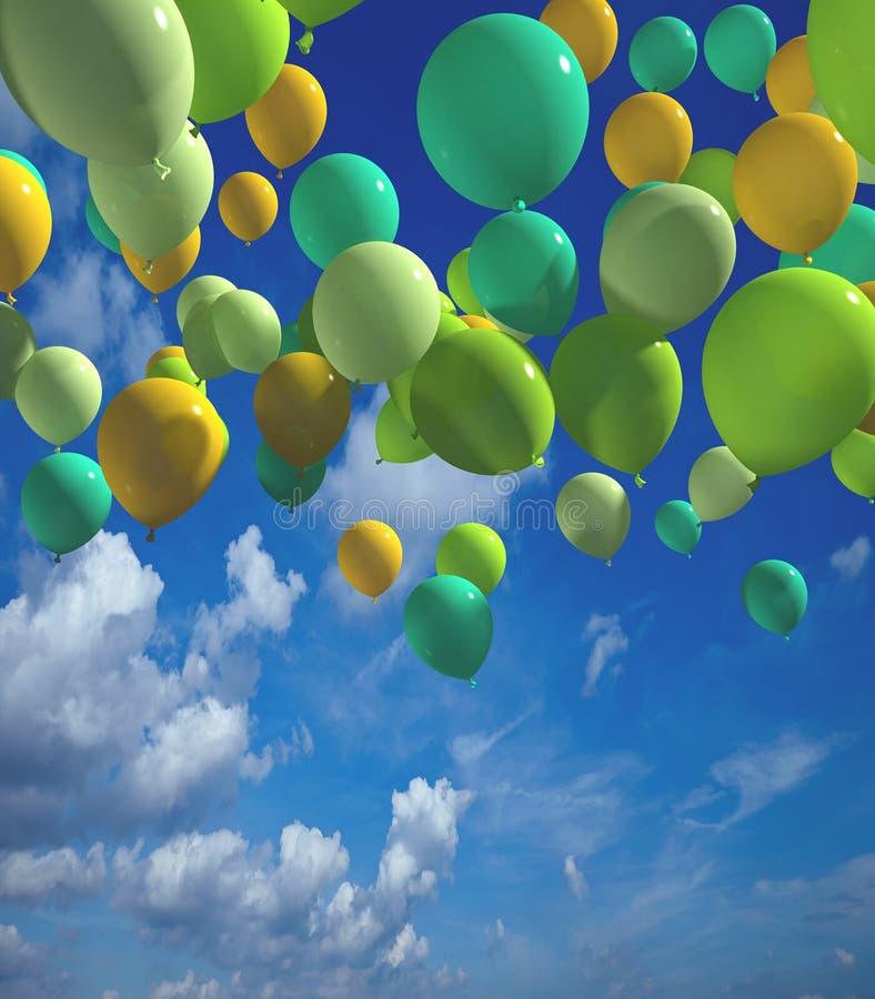Färgrika ballonger med tolkningen för blå himmel 3d vektor illustrationer
