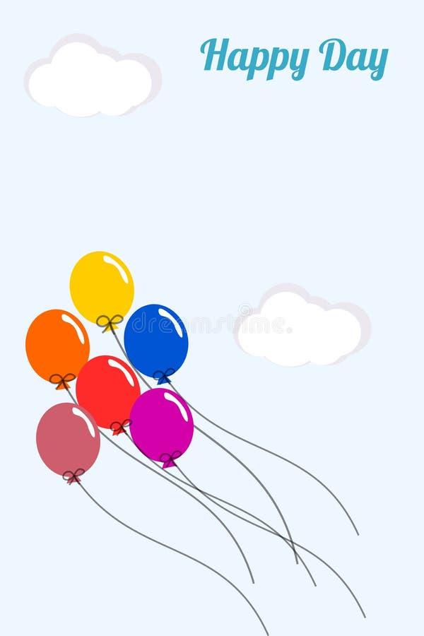 Färgrika ballonger på ljus - blå himmel vektor illustrationer