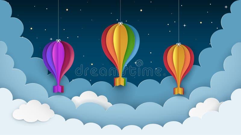 Färgrika ballonger, stjärnor och moln för varm luft på den mörka bakgrunden för natthimmel Nattplatsbakgrund Hängande pappers- ha stock illustrationer