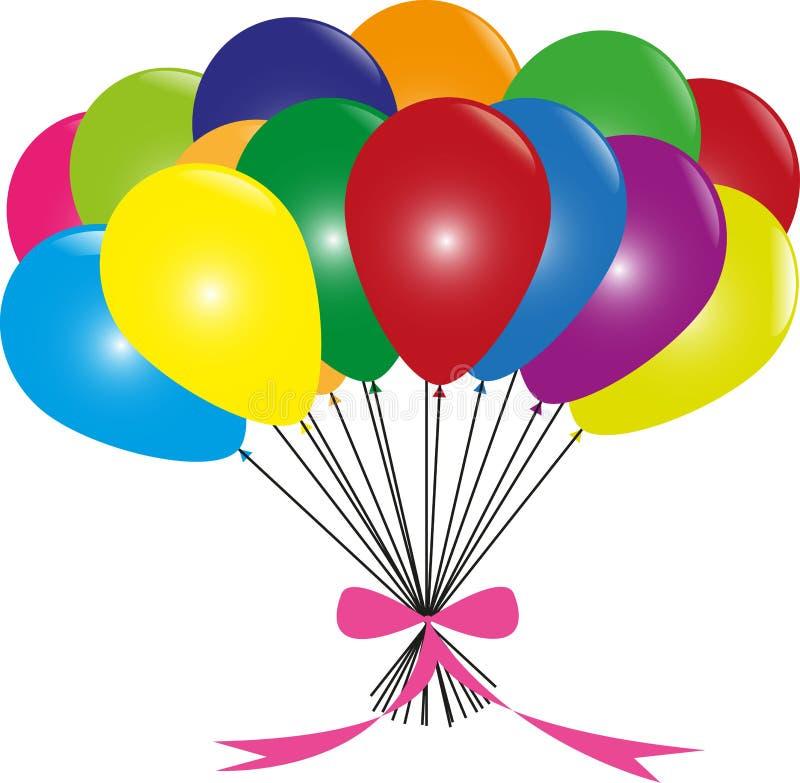 Färgrika baloons royaltyfri illustrationer
