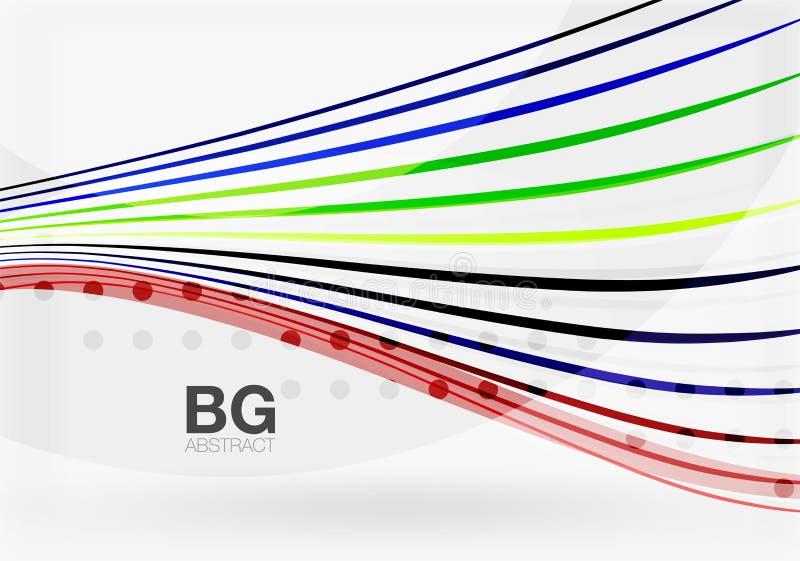 Färgrika band på grå färger stock illustrationer