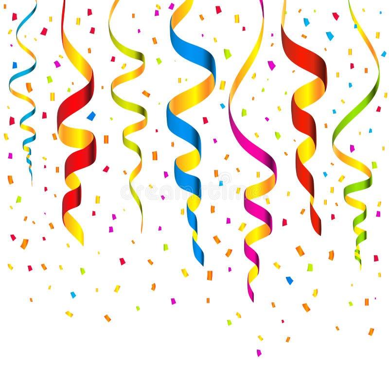 Färgrika banderoller och konfettibakgrundsvektor stock illustrationer