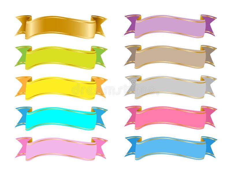 Färgrika banerband fäster ihop konstvektorclipart EPS SVG stock illustrationer