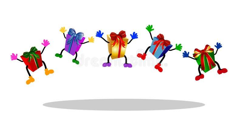 färgrika banhoppningpresents royaltyfri illustrationer