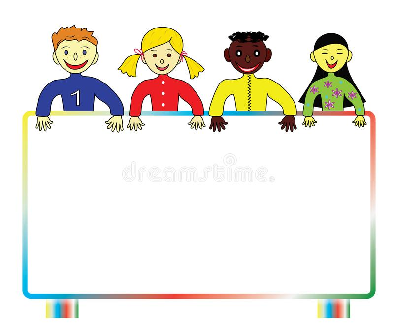 Färgrika barn av världen royaltyfri illustrationer