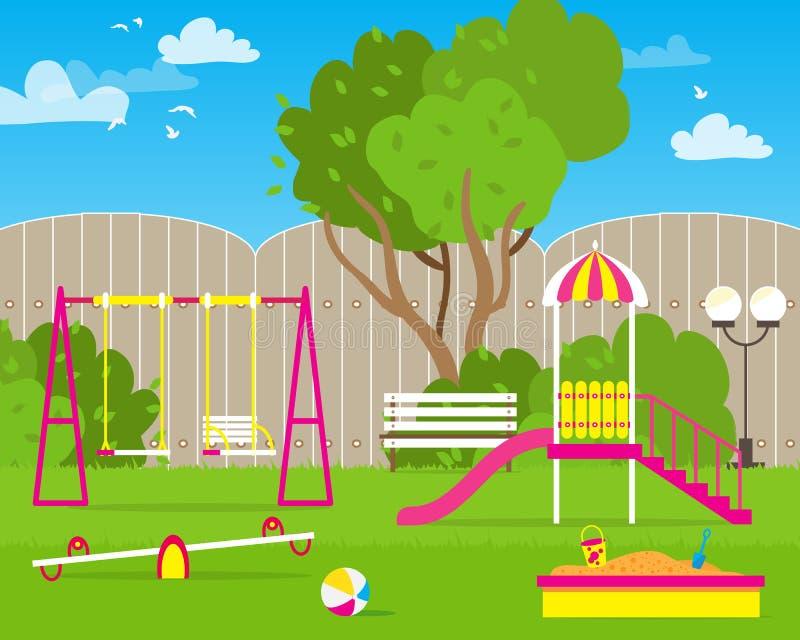 Färgrika barns lekplats med gungor, glidbana, sandlåda royaltyfri illustrationer