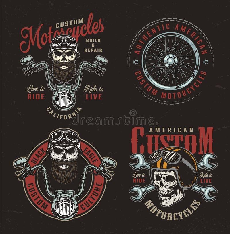 Färgrika beställnings- motorcykellogotyper för tappning vektor illustrationer