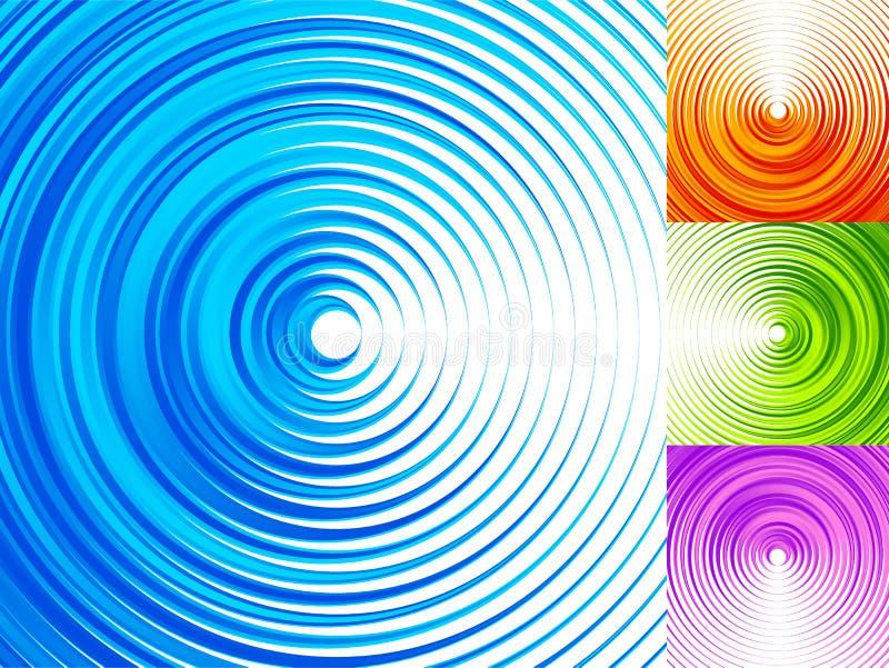 Färgrika beståndsdelar för koncentrisk cirkel ljusa 4, livligt vibrerande Co vektor illustrationer