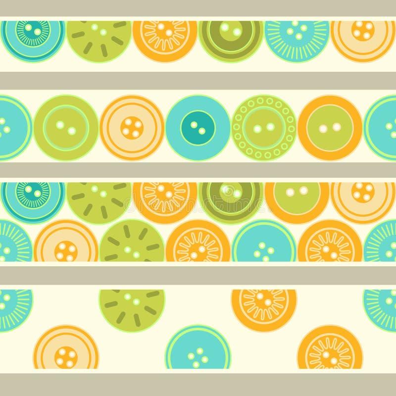 Färgrika blå gräsplan- och apelsinknappar på vita sömlösa gränser ställde in, vektorn vektor illustrationer