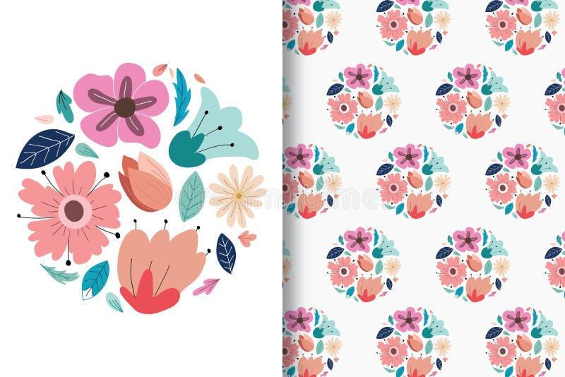 Färgrika blommahandteckningar med redigerbara modeller royaltyfri illustrationer
