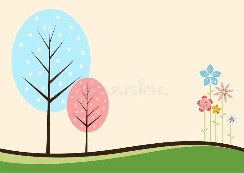 färgrika blommatrees vektor illustrationer