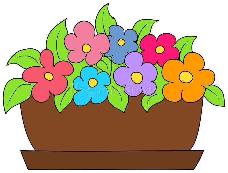 Färgrika blommor i en blomkruka royaltyfri illustrationer