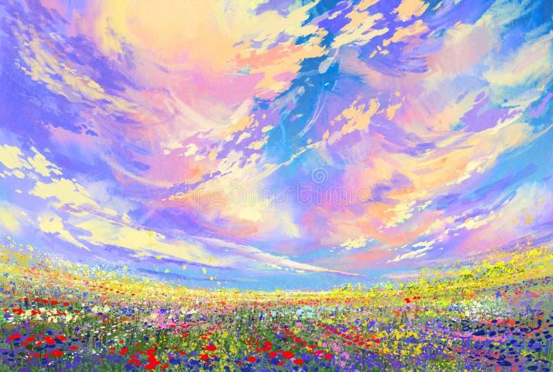 Färgrika blommor i fält under härliga moln arkivbild