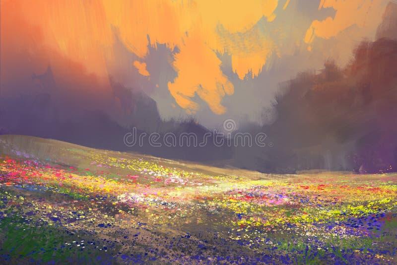 Färgrika blommor i fält under härliga moln royaltyfri foto
