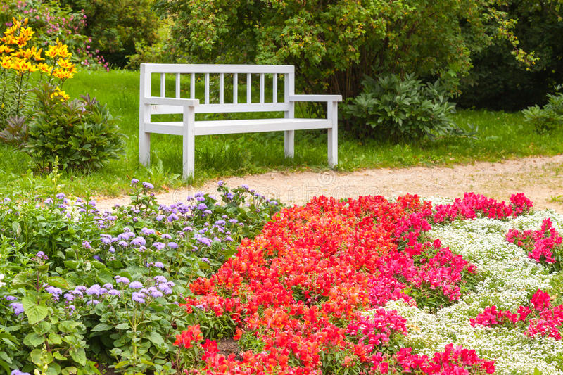 Färgrika blommor på blomsterrabatten i sommar parkerar royaltyfri fotografi