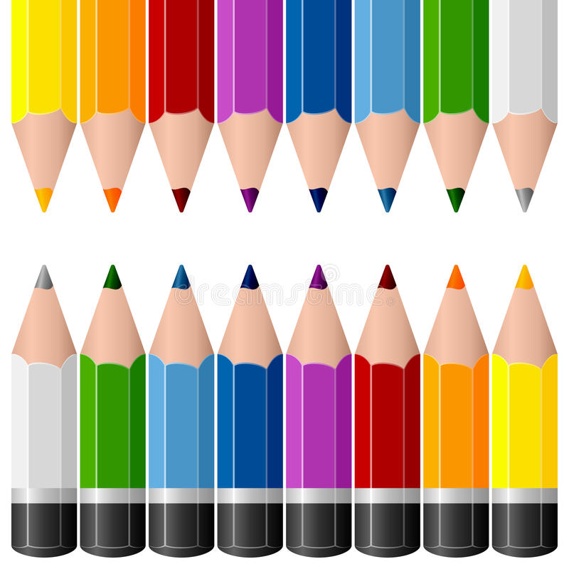 Färgrika blyertspennagränser stock illustrationer