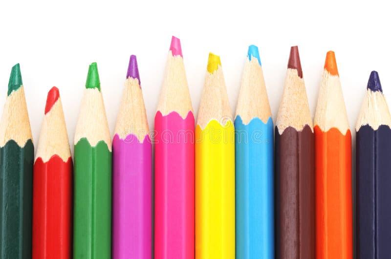 färgrika blyertspennor royaltyfri bild