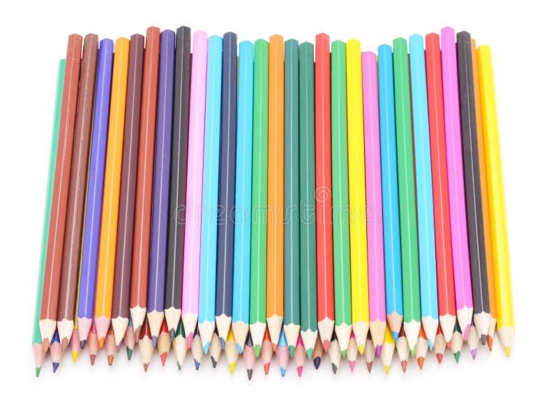 Färgrika blyertspennor för grupp arkivfoton