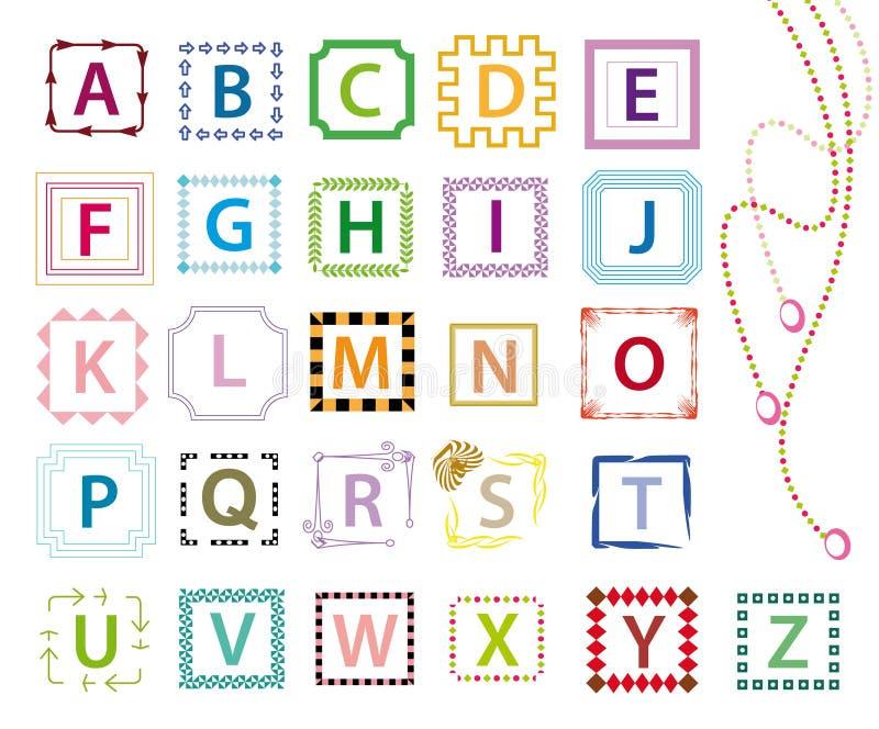 färgrika bokstäver för alfabet royaltyfri illustrationer