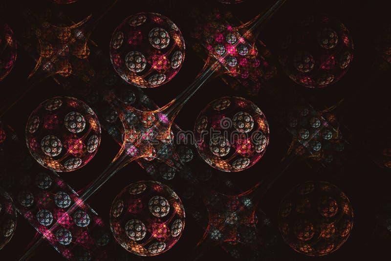 Färgrika bollar för abstrakt fractal på svart bakgrund arkivbilder