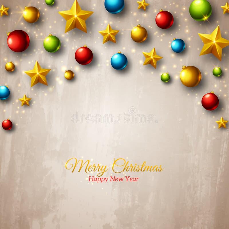 Färgrika bollar för jul och guld- stjärnor på stock illustrationer