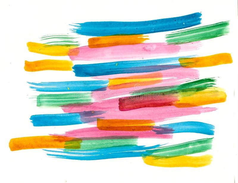 Färgrika borsteslaglängder för handgjord vattenfärg stock illustrationer