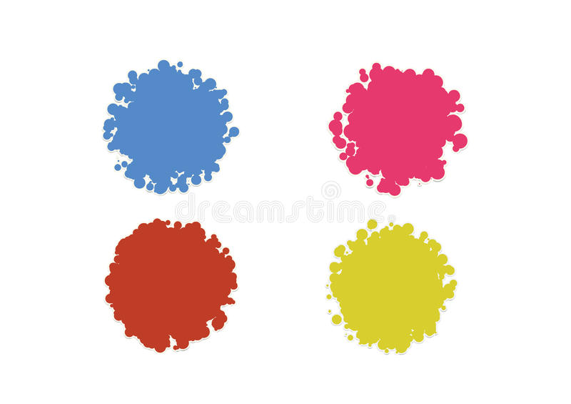 Färgrika bubblor isolerade den tomma tomma uppsättningen för vektorn för etikettsklistermärkeetiketten stock illustrationer
