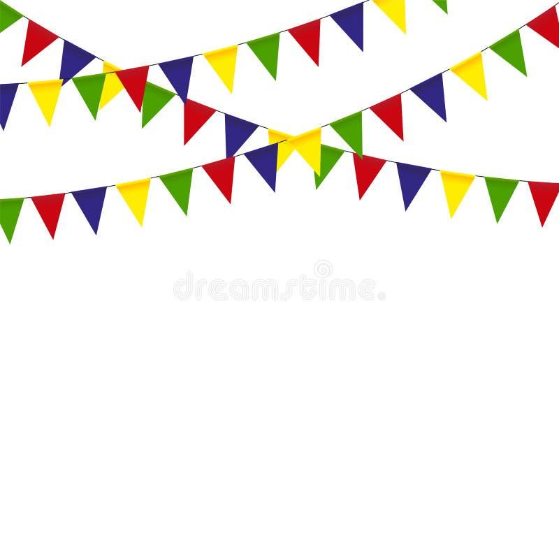 Färgrika buntingflaggor och girlander stock illustrationer
