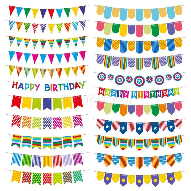 Färgrika buntingflaggor och girlander Garnering för vektor för födelsedagparti vektor illustrationer