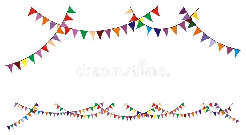 färgrika buntings royaltyfri illustrationer