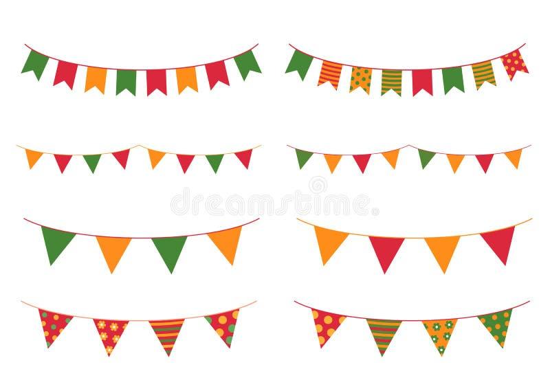 Färgrika buntings för Cinco De Mayo feriedesigner stock illustrationer