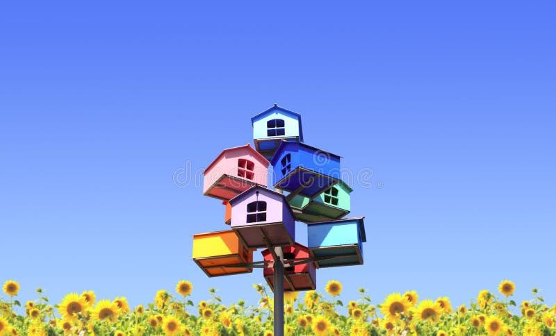 Färgrika bygga boaskar och solrosor fotografering för bildbyråer