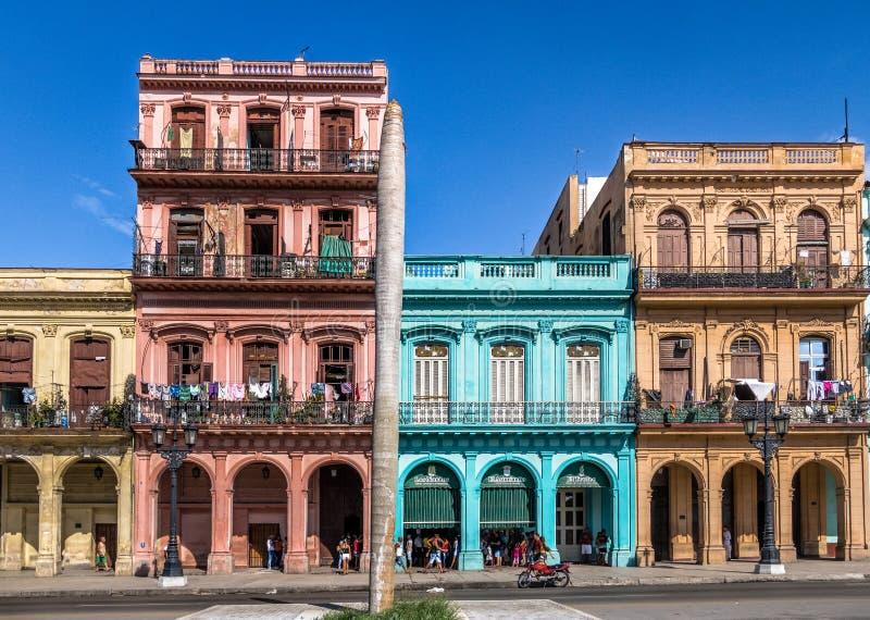Färgrika byggnader i den i stadens centrum gatan för gammal havannacigarr - havannacigarr, Kuba royaltyfria bilder