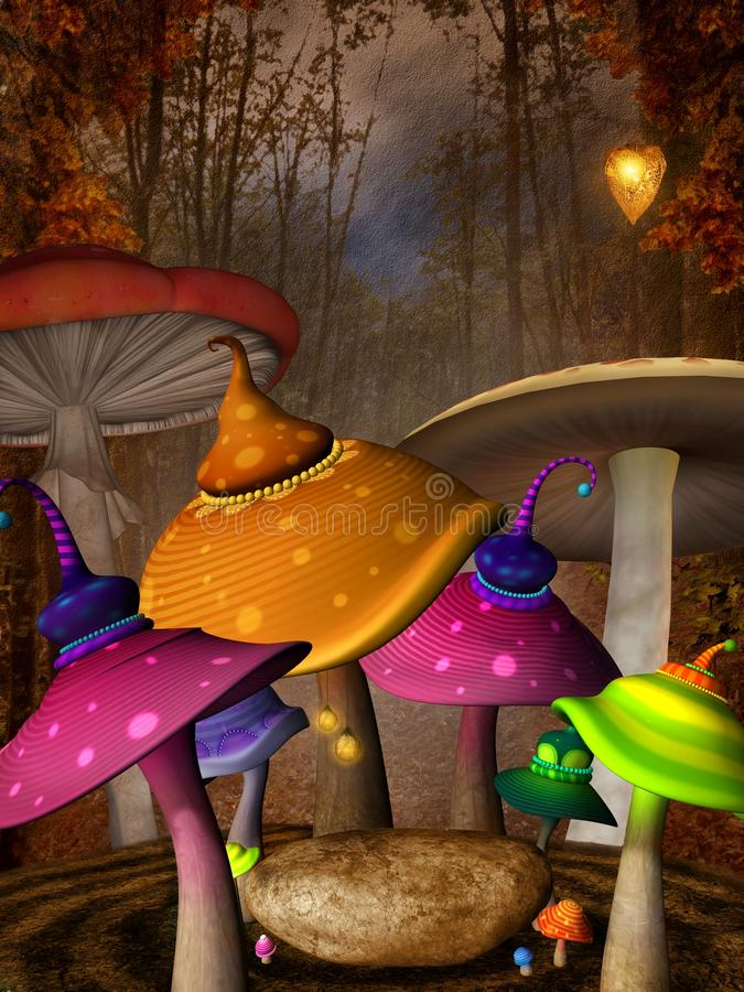 Färgrika champinjoner i den dimmiga skogen vektor illustrationer