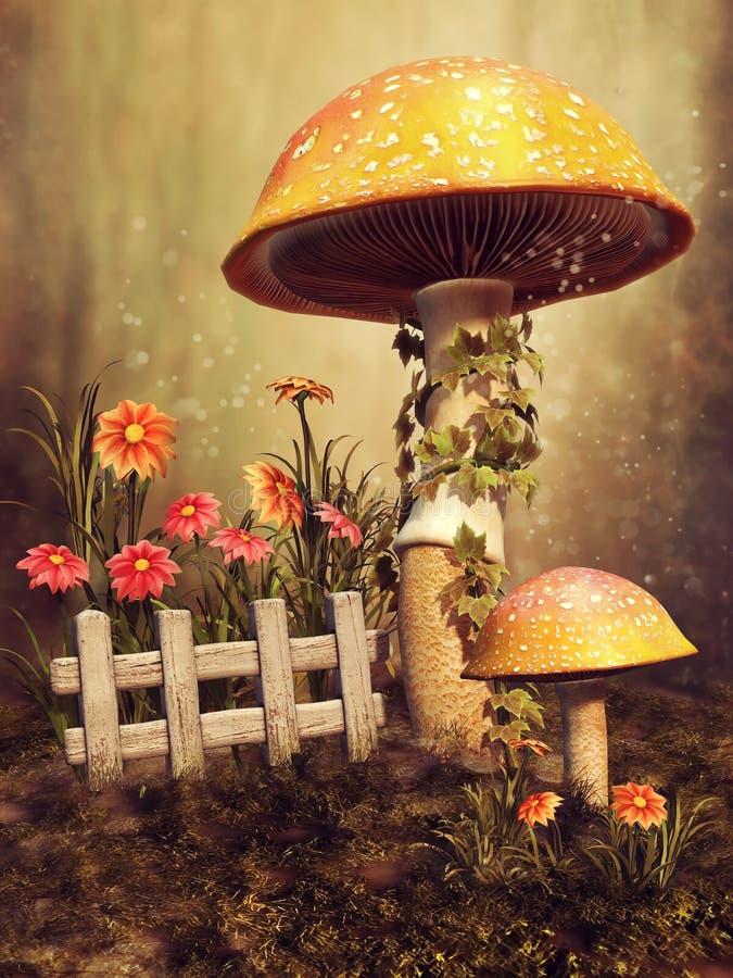 Färgrika champinjoner och blommor stock illustrationer