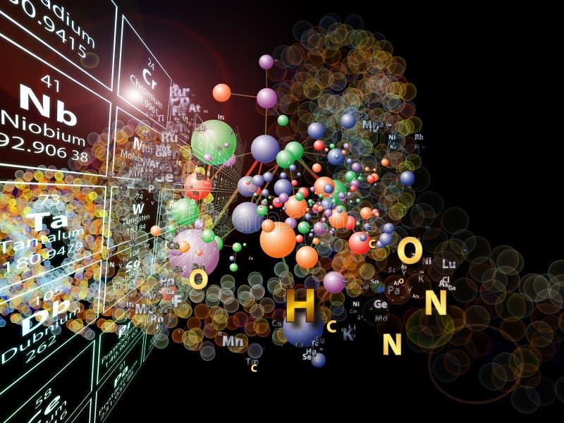 Färgrika Chemical element royaltyfri illustrationer