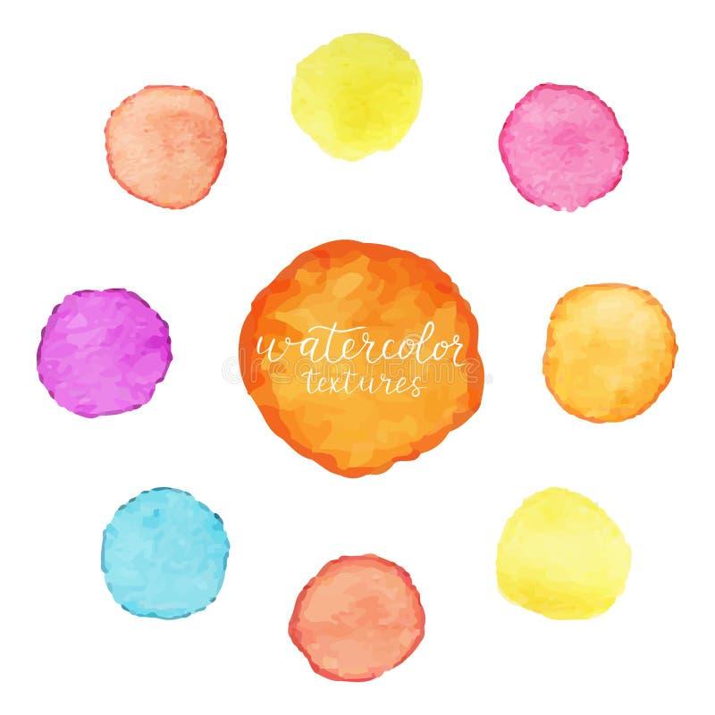 Färgrika cirklar av vattenfärgmålarfärg Uppsättning av vattenfärgfläckar på vit bakgrund också vektor för coreldrawillustration vektor illustrationer